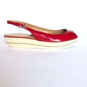 Stuart Weitzman Patent Leather Wedge Sandals 10.5